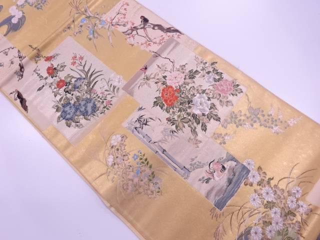 【IDN】 本金箔十二ヶ月花鳥図織出し袋帯【リサイクル】【中古】【着】
