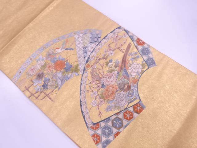 【IDN】 本金箔瀞金錦相良蘇州刺繍地紙に花鳥模様袋帯【リサイクル】【中古】【着】