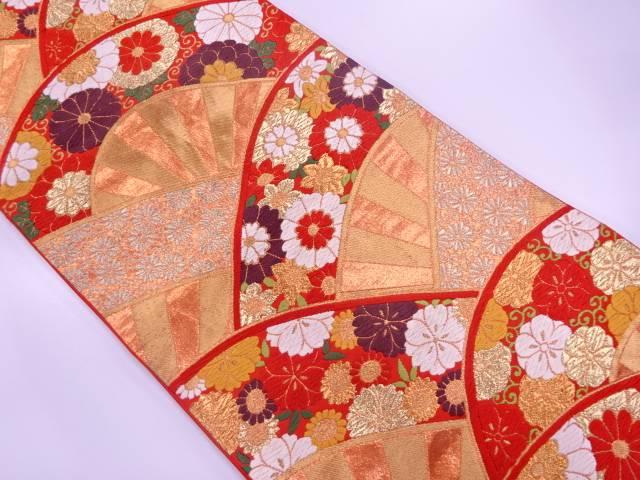 【IDN】 河合美術織物製 片輪車に花唐草模様織出し袋帯【リサイクル】【中古】【着】