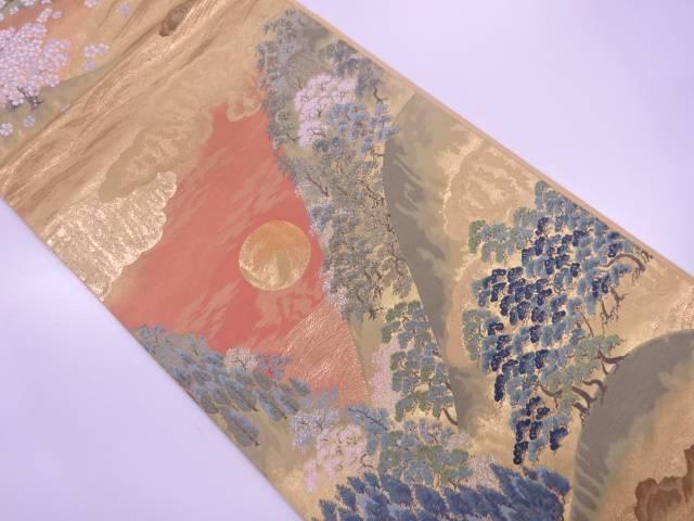 【IDN】 唐織月に風景模様織出し袋帯【リサイクル】【中古】【着】