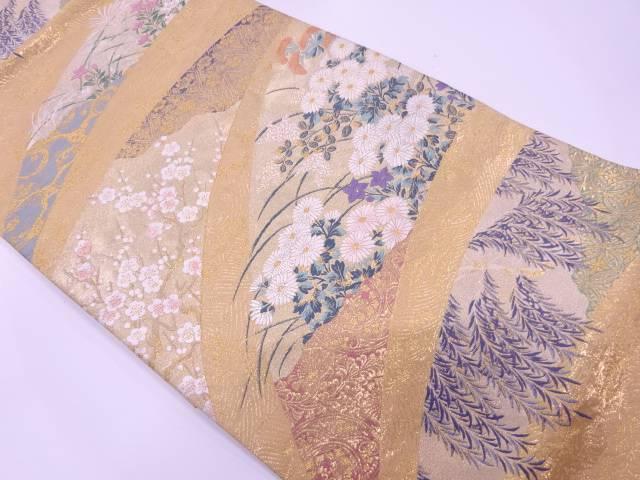 【IDN】 秋草に枝梅・柳模様織出し袋帯【リサイクル】【中古】【着】