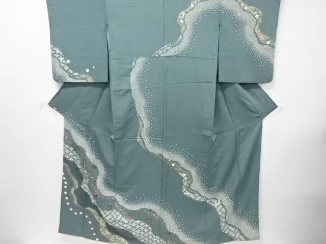 【IDN】 金彩絞り道長取りに華紋刺繍訪問着【リサイクル】【中古】【着】