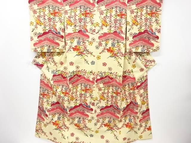 【IDN】 本場琉球紅型松に燕模様手織り真綿紬付下げ着物【リサイクル】【中古】【着】