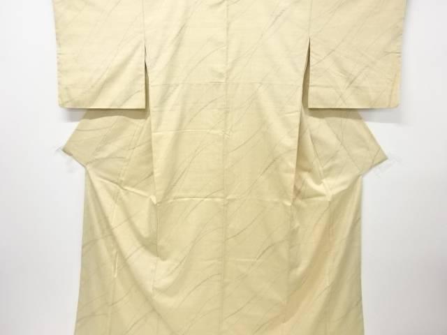 【IDN】 よろけ斜め縞模様織出し手織真綿紬着物【リサイクル】【中古】【着】