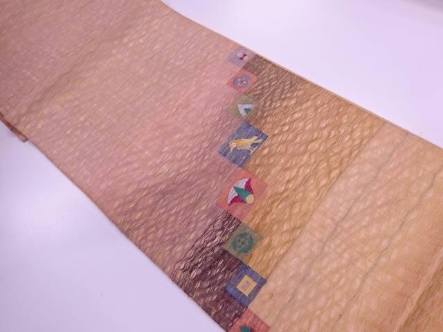 【IDN】 すくい織変わり横段に鳥・抽象模様織出し袋帯【リサイクル】【中古】【着】