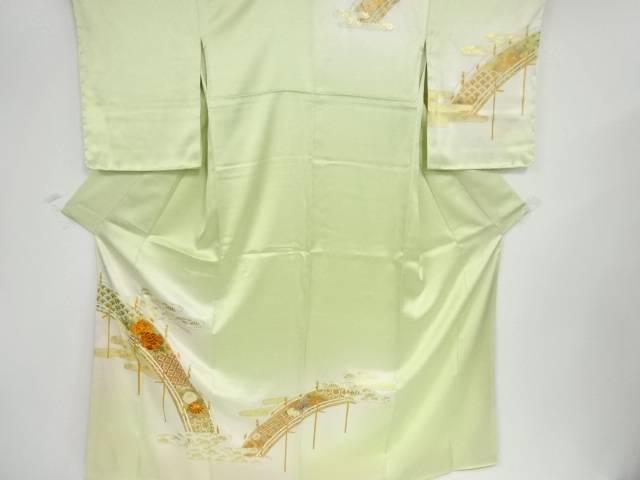 【IDN】 未使用品 橋に牡丹・菊模様刺繍訪問着【リサイクル】【着】