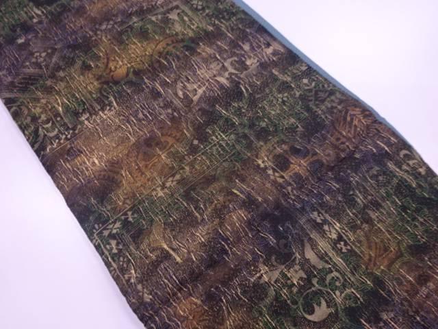 【IDN】 纐纈草花に古典柄模様織出し暈し全通袋帯【リサイクル】【中古】【着】
