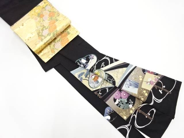 【IDN】 作家物 金彩手描き笠松に鴛鴦・草花模様刺繍留袖(比翼付き)袋帯セット【リサイクル】【中古】【着】