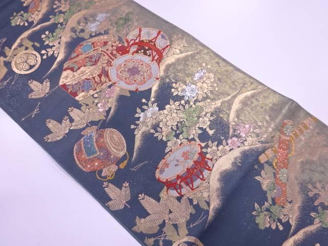 【IDN】 螺鈿本金真珠箔筆箱に古楽器模様織出し袋帯【リサイクル】【中古】【着】