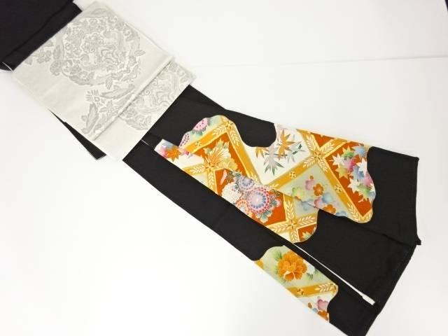 【IDN】 格天井に花鳥模様刺繍留袖・袋帯セット(比翼付き)【リサイクル】【中古】【着】