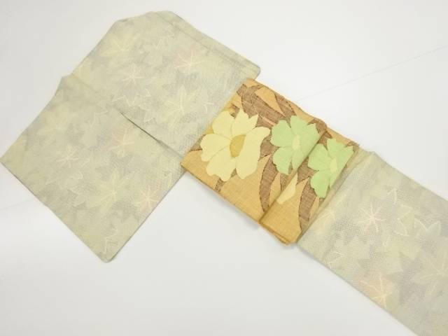 【IDN】 未使用品 楓模様織り出し十日町紬着物 手織り真綿紬名古屋帯セット【リサイクル】【着】