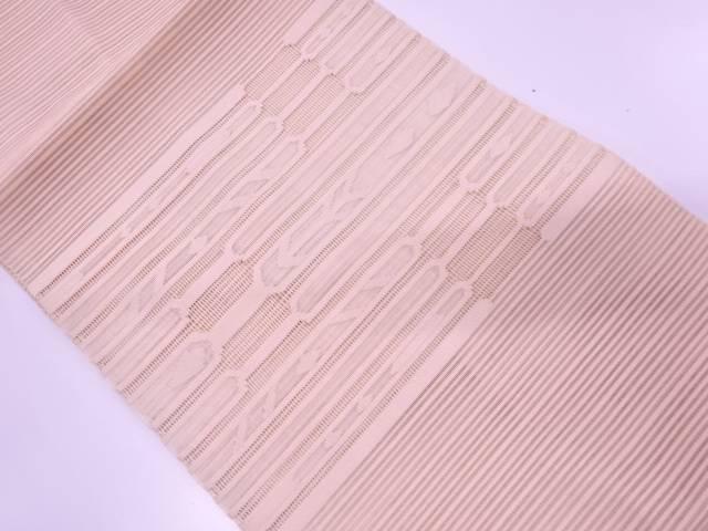 【IDN】 未使用品 絽綴れ横段に抽象模様織出し名古屋帯【リサイクル】【着】