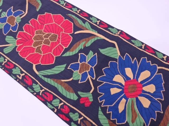 【IDN】 桝屋高尾謹製 草花模様織出し袋帯【リサイクル】【中古】【着】