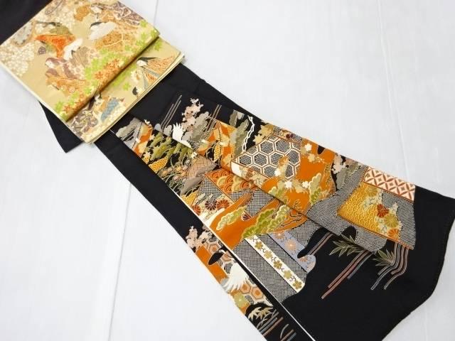 【IDN】 金彩友禅鶴に風景模様留袖・袋帯セット(比翼付き)【リサイクル】【中古】【着】