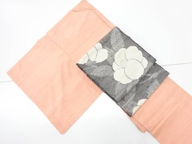 【IDN】 米沢紬紅花染着物・手織り真綿紬名古屋帯セット【リサイクル】【中古】【着】