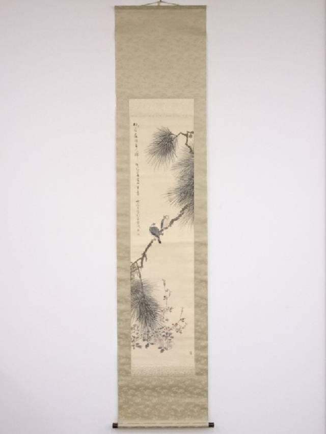【IDN】 日本画 白雲筆 草花図 肉筆絹本双幅掛軸【中古】【道】