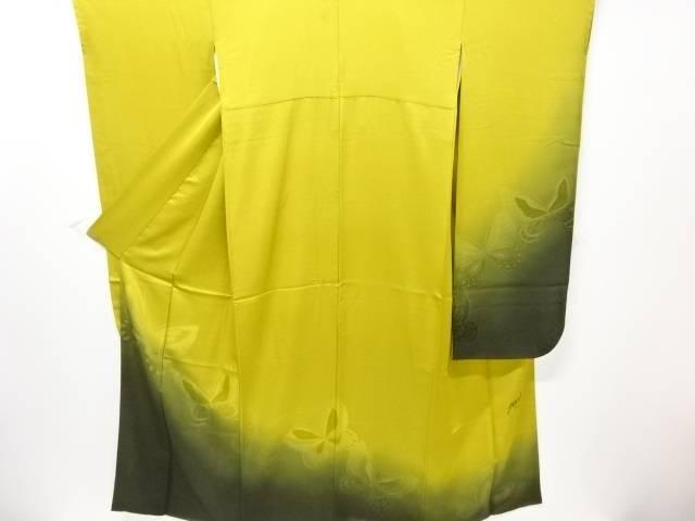 【IDN】 斉藤三才 蝶模様織り出し振袖 長襦袢・袋帯セット【リサイクル】【中古】【着】