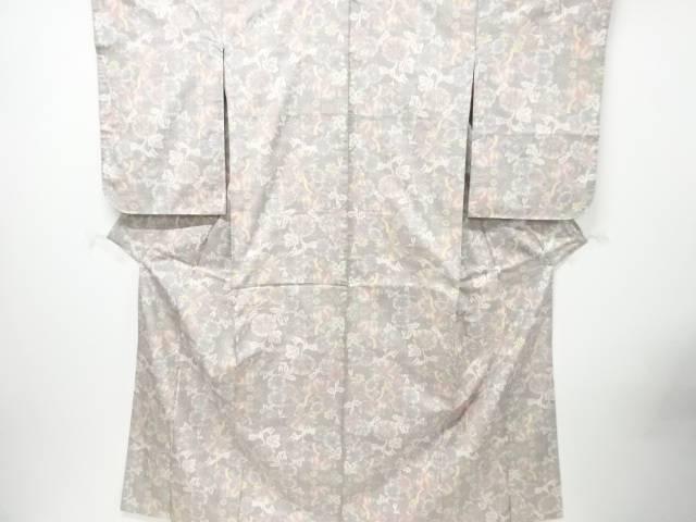 【IDN】 未使用品 花模様織り出し本場白大島紬着物(5マルキ)【リサイクル】【着】