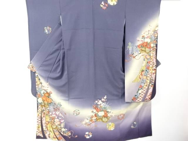 【IDN】 金彩花車模様刺繍振袖・長襦袢・志都香製袋帯セット【リサイクル】【中古】【着】