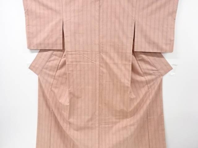 【IDN】 米沢紬紅花染変わり縞織出し着物【リサイクル】【中古】【着】