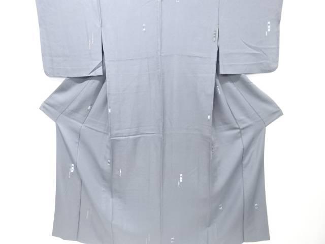 【IDN】 短冊に幾何学模様刺繍一つ紋単衣小紋着物【リサイクル】【中古】【着】