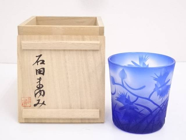 【IDN】 石田まゆみ造 ガラスコップ【中古】【道】