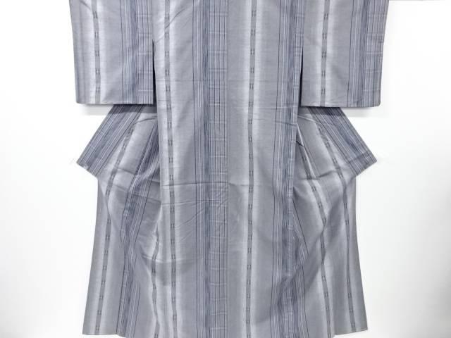 【IDN】 未使用品 縞に井桁模様織り出し手織り真綿紬着物【リサイクル】【着】