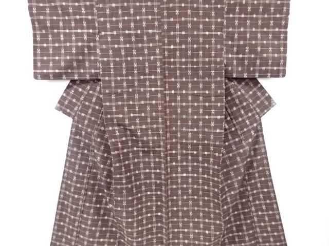 【IDN】 変わり格子織り出し手織り真綿紬着物【リサイクル】【中古】【着】