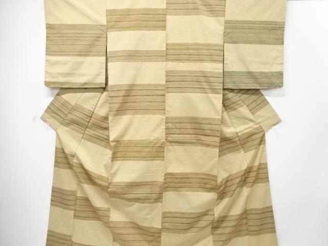 【IDN】 未使用品 創作手織り真綿紬横段織り出し着物【リサイクル】【着】