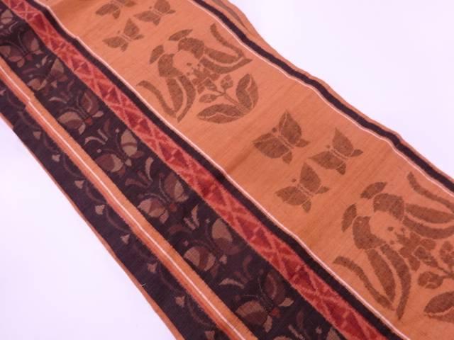 【IDN】 手織紬縞に草花・蝶模様織出し名古屋帯【リサイクル】【中古】【着】