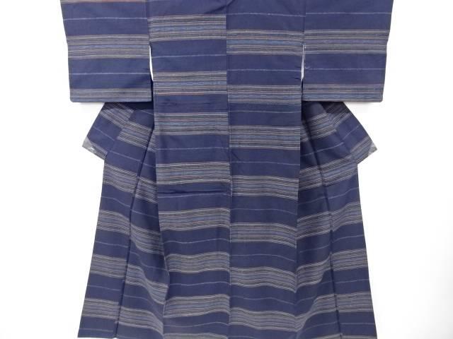 【IDN】 創作手織り真綿紬横段織り出し着物【リサイクル】【中古】【着】