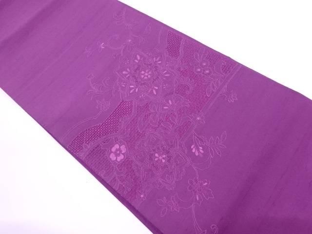【IDN】 未使用品 手織紬汕頭蘇州刺繍草花模様袋帯【リサイクル】【着】