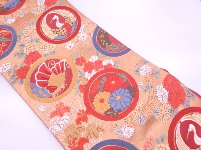 【IDN】 丸紋に鶴・草花模様織出し袋帯【リサイクル】【中古】【着】