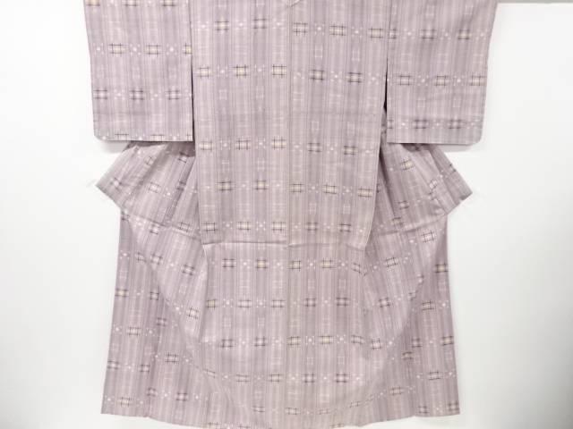【IDN】 未使用品 仕立て上がり 草木染井桁絣織り出し手織り真綿紬単衣着物【着】