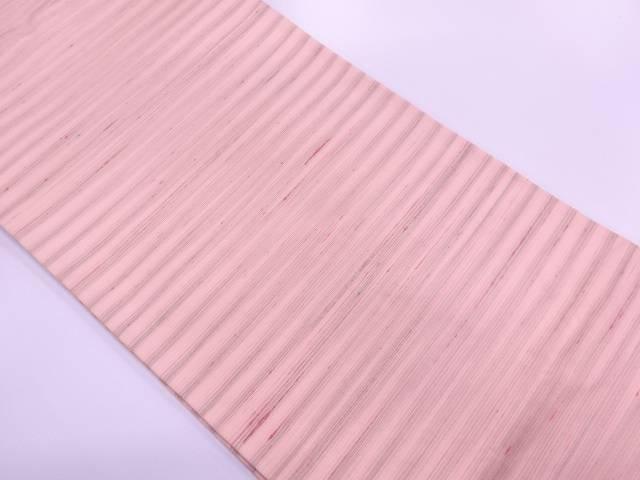 【IDN】 未使用品 紅花紬横段模様織出し全通袋帯【リサイクル】【着】