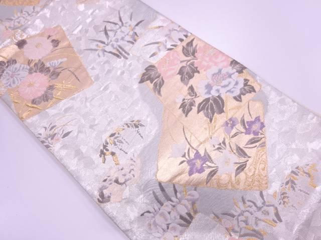 【IDN】 色紙に草花模様織出し袋帯【リサイクル】【中古】【着】