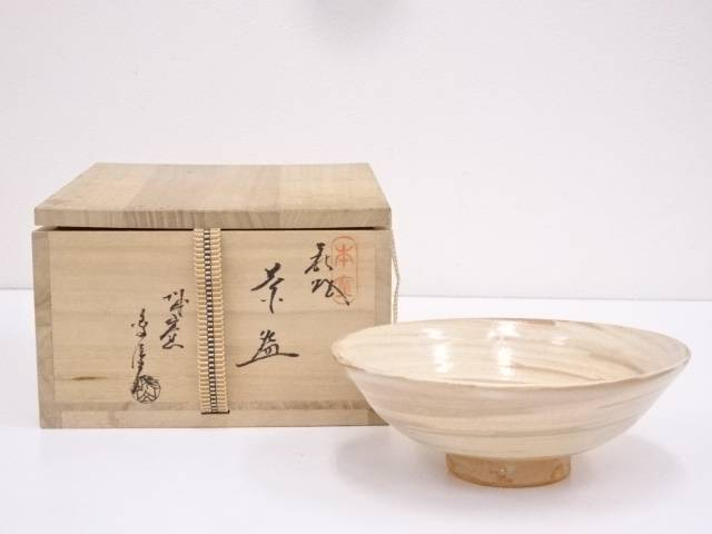 【IDN】 萩焼 松籟庵城山窯 刷毛目茶碗【中古】【道】