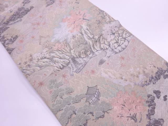 【IDN】 萬葉製 家屋風景模様織出し全通袋帯【リサイクル】【中古】【着】