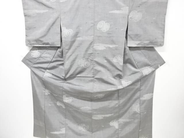 【IDN】 雲に鼓模様織り出し手織り紬着物【リサイクル】【中古】【着】
