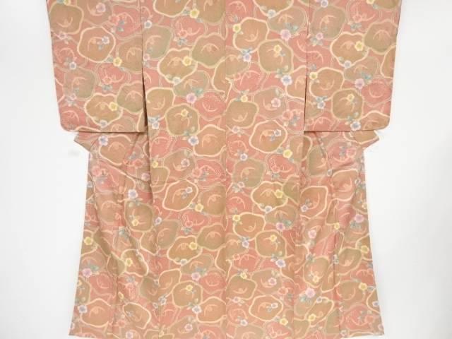 【IDN】 未使用品 仕立て上がり 椿に梅模様小紋着物【着】