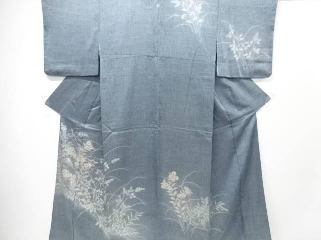 【IDN】 手描き菊・萩模様刺繍一つ紋訪問着【リサイクル】【中古】【着】