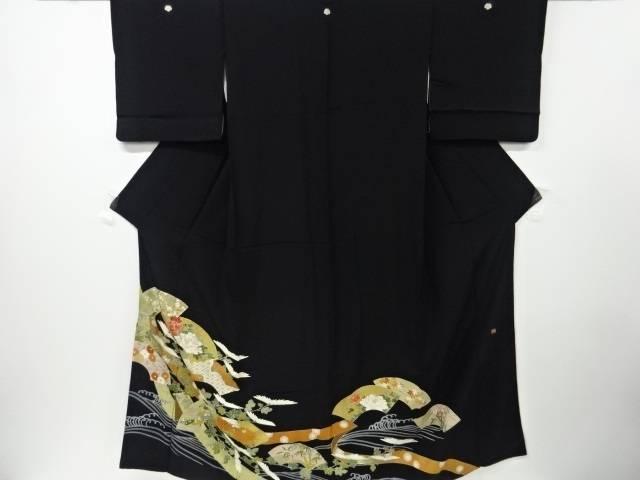 【IDN】 作家物 地紙に熨斗・花模様刺繍留袖(比翼付き)【リサイクル】【中古】【着】