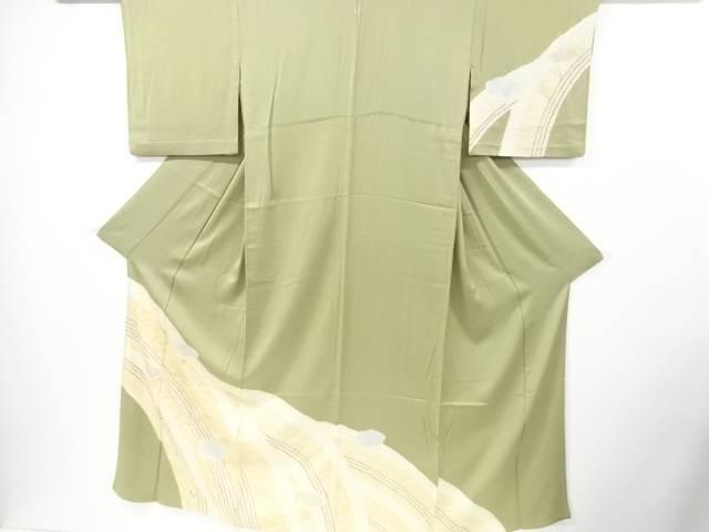 【IDN】 絞り地紙に花模様刺繍一つ紋単衣訪問着【リサイクル】【中古】【着】