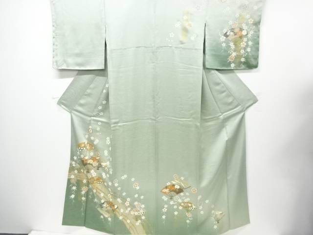【IDN】 未使用品 仕立て上がり 金彩手描き太鼓橋に扇枝垂れ桜模様訪問着【着】