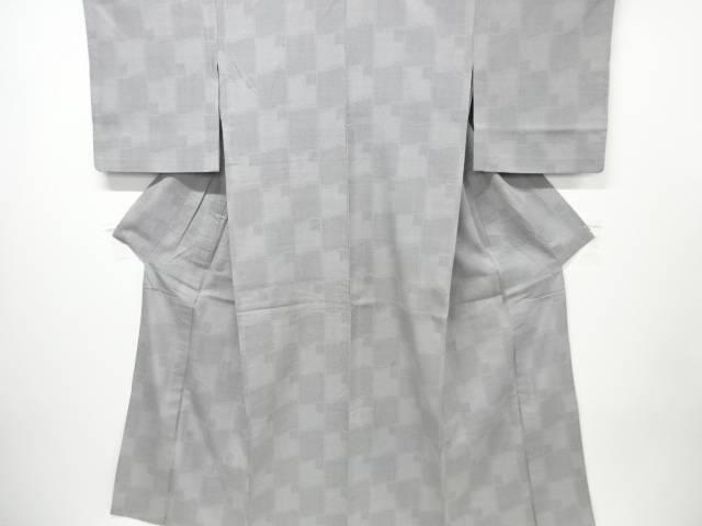 【IDN】 瓦模様織り出し本場結城紬80亀甲単衣着物(石下)【リサイクル】【中古】【着】