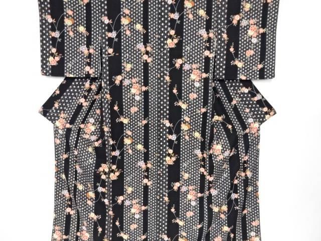 【IDN】 未使用品 疋田麻の葉に八重桜模様小紋着物【リサイクル】【着】