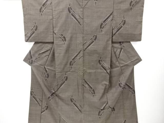 【IDN】 抽象模様織り出し本場泥大島紬着物(5マルキ)【リサイクル】【中古】【着】