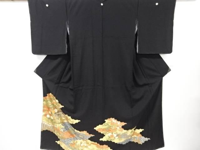 【IDN】 未使用品 仕立て上がり 金彩友禅屋敷風景模様刺繍留袖(比翼付き)【着】
