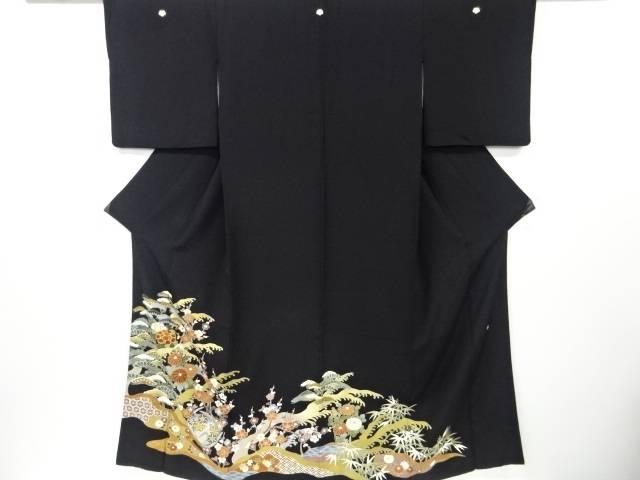 【IDN】 作家物 金彩友禅花丸紋に松竹梅模様刺繍留袖(比翼付き)【リサイクル】【中古】【着】