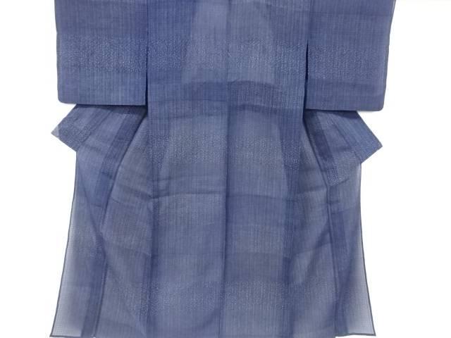 【IDN】 紗本藍型染横段に寄せ柄小紋着物【リサイクル】【中古】【着】